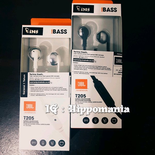 JBL T205 Earphone-Ori Garansi IMS