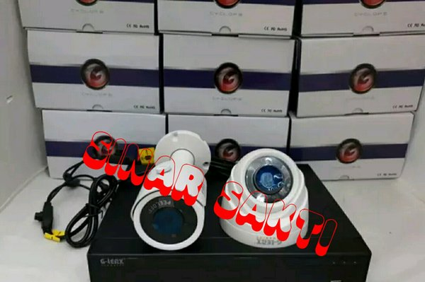 MURAH PAKET CCTV GLENZ 2 CAMERA 5MP 2560P REAL  KOMPLIT TINGGAL PASANG