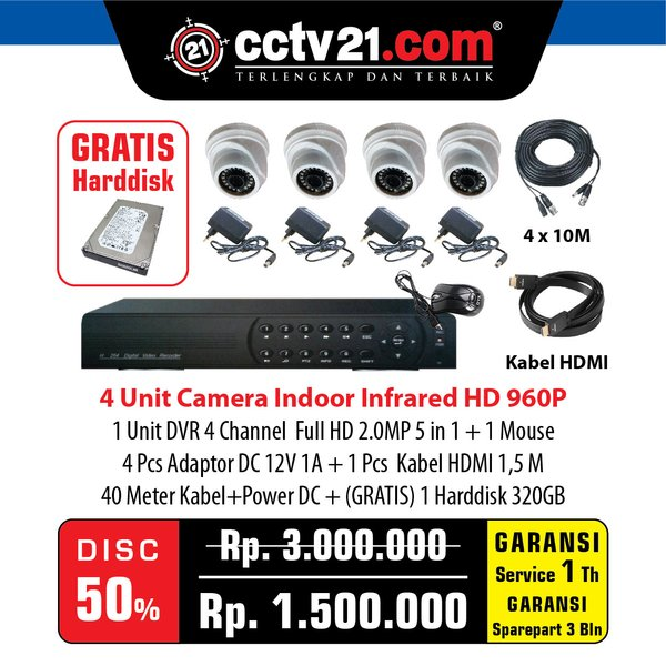 Paket 4 Camera CCTV HD 960p 1 DVR 4 Ch Full HD 1080 2MP Gratis 1 Harddisk