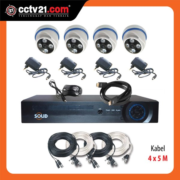 Promo Paket 4 Camera CCTV Full HD SOLID 2MP DVR FULL HD 5 in 1 Taiwan Technology