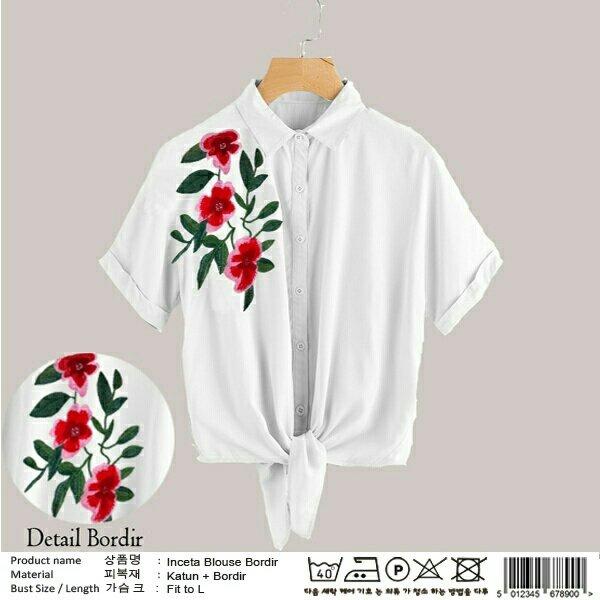 BL INCETA PUTIH-Pakaian Wanita-Sweater-Setelan-Set-Ootd-Jaket-Baju Murah  -Dress -Hijab-Kemeja-Kulot-Celana-Rok-Kaos-Blouse-Grosir-Reseller