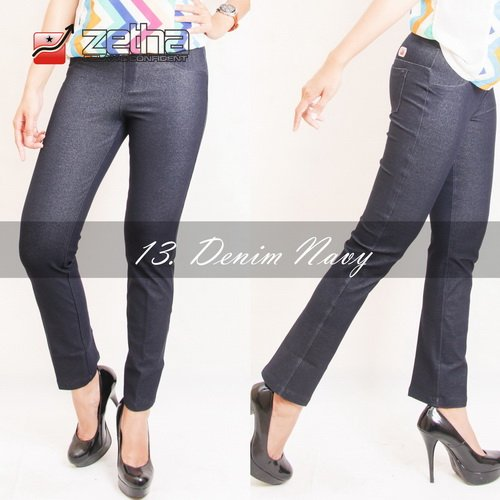 Celana Zetha Legging Panjang Wanita All Size M-L-XL Jeans Denim Navy Stretch Pinggang Full Karet Original