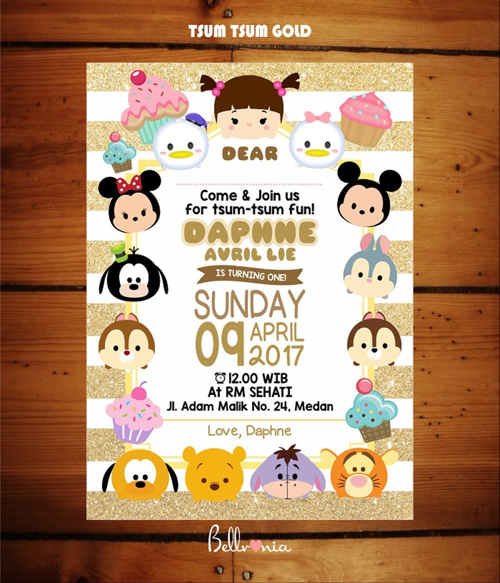Jual Undangan Ulang Tahun Tsum Tsum Gold Di Lapak Bellvania Card