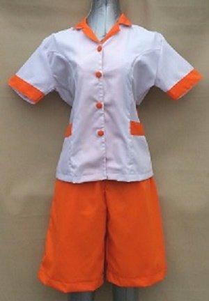 Baju Suster / Seragam Baby Sitter Celana Kulot Orange Baju Putih Variasi Orange