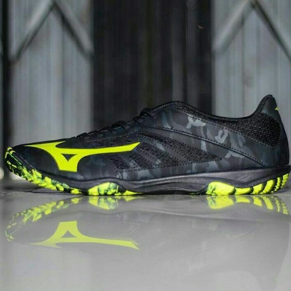 SEPATU FUTSAL MIZUNO BASARA 103 SALA BLACK SAFETY YELLOW