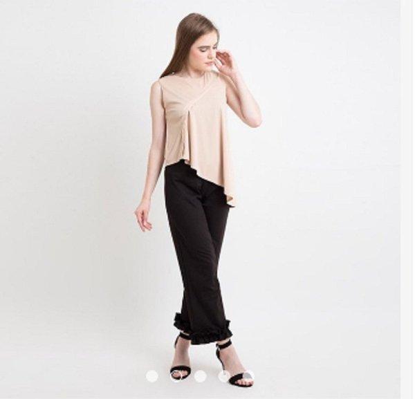 Kulot Coco Ruffle Pants - Celana Kulot Coco Ruffle Bahan Crepe Celana Wanita Celana Panjang Kekinian - Hitam