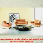 New 3pc Contemporary Modern Leather Sofa Set Am 209 B Camel Ivory