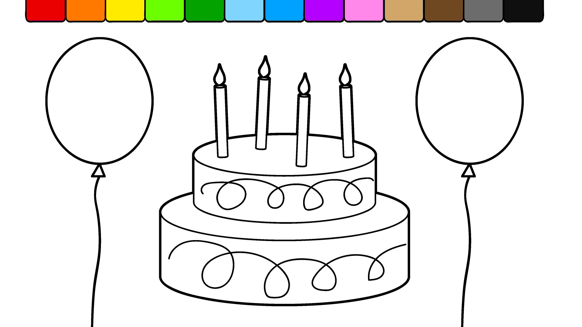 Learn Colors For Kids And Color This Birthday Cake Balloon Coloring Page Video Dailymotion