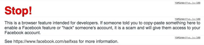Facebook's browser-console warning