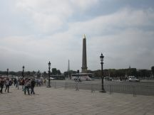 Obelisk at Place de la Concorde, with Tour Eiffel in the background.