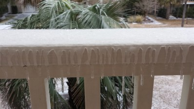 Icicles on the railing