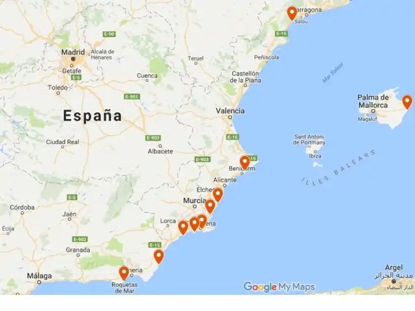Ubicación de las diez playas seleccionadas.