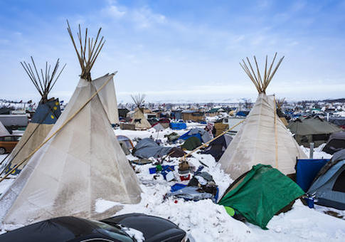Protestors near Cannonball, North Dakota / AP