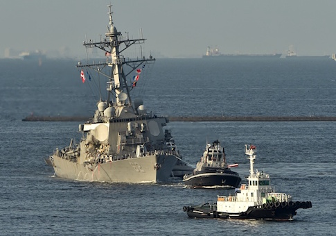 U.S. Navy guided missile destroyer USS Fitzgerald arrives at its mother port US Naval Yokosuka Base, Kanagawa