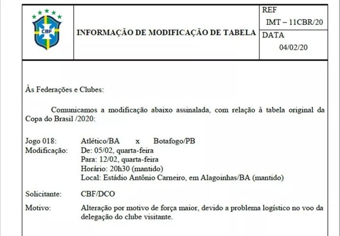 CBF confirma adiamento da partida entre Atlético-BA e Botafogo-PB — Foto: Reprodução / CBF