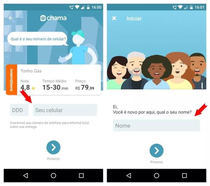 Número do celular e nome do usuário são solicitados no app Chama — Foto: Reprodução/Adriano Ferreira