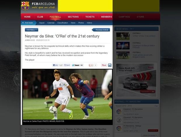 Neymar site Barelona (Foto: Site Oficial do Barcelona)