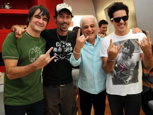 Skank, Dinho Ouro Preto, Roberto Medina e Rogério Flausino em entrevista coletiva sobre o Rock in Rio (Foto: Alexandre Durão/G1)