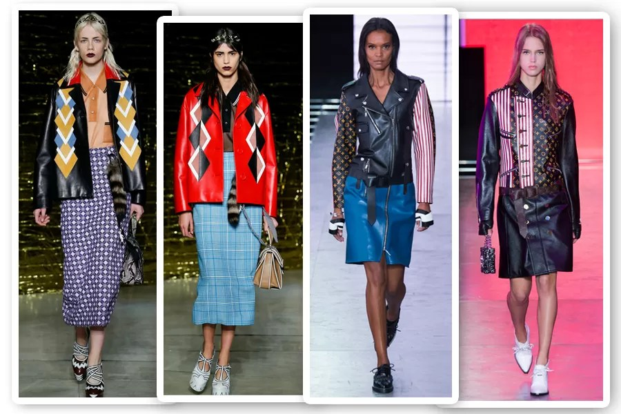 Na Miu Miu e na Louis Viutton, jaquetas de couro statement eram as peças-chave dos looks (Foto: Imaxtree)