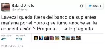 jornalista acusa lavezzi de fumar maconha (Foto: Reprodução Twitter)