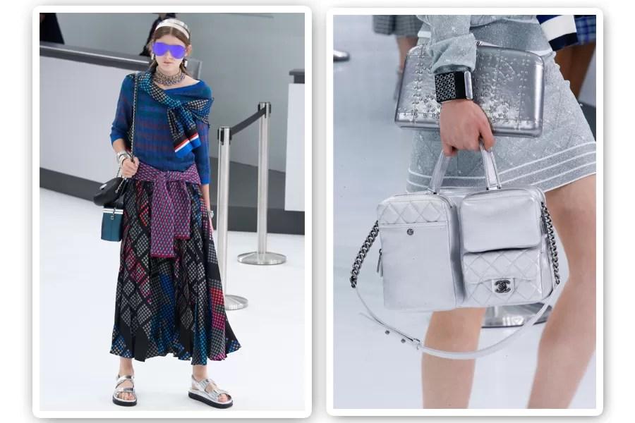 Na Chanel, usar duas bolsas em um mesmo look continua em alta (Foto: Imaxtree)