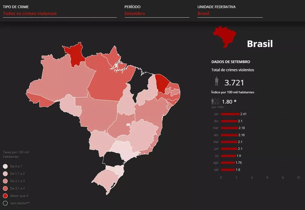 Mapa mostra mortes violentas em setembro no Brasil — Foto:  G1