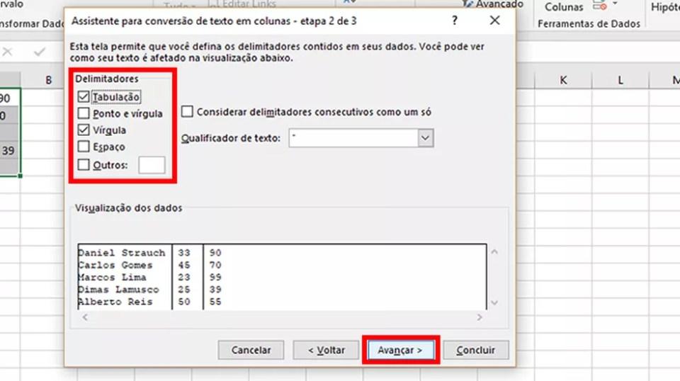 """Selecione os delimitados do texto e aperte em """"Avançar"""" (Foto: Reprodução/Daniel Ribeiro)"""
