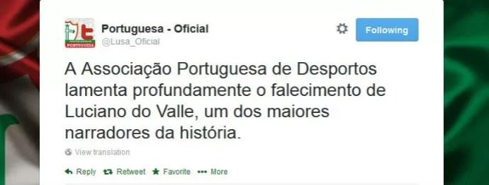 Portuguesa lamenta morte do narrador Luciano do Valle (Foto: reprodução)