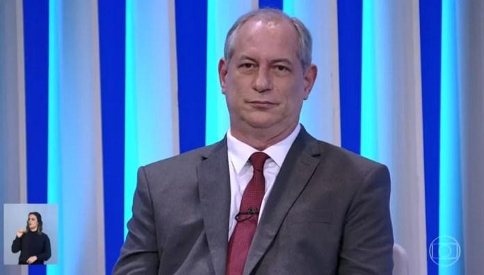 O candidato do PDT à Presidência, Ciro Gomes, no debate da Rede Globo — Foto: Reprodução