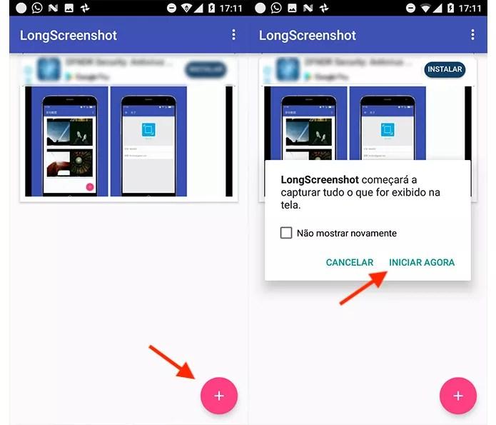 Opção para iniciar o aplicativo LongScreenshot para Android