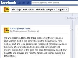 No Facebook, parque confirma morte no complexo, mas não dá detalhes do caso. (Foto: Reprodução / Facebook / Six Flags Over)