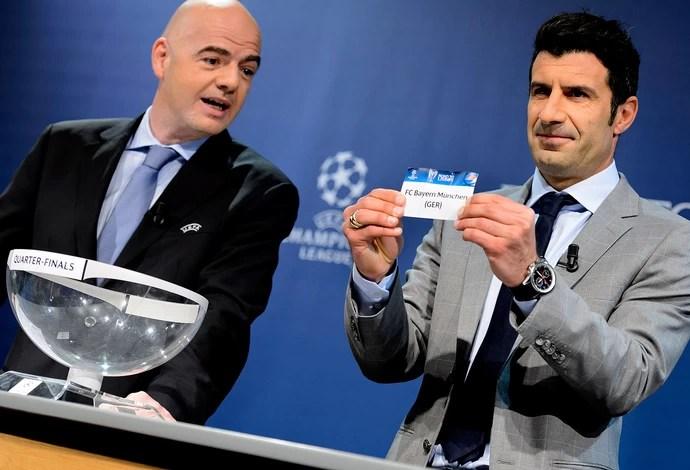 Figo Sorteio liga dos campeões quartas de final 2014 (Foto: Agência AFP)