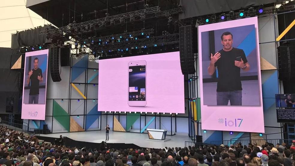 Dave Burke, vice-presidente do Google para Android, fala das novidades do Android O (Foto: Helton Simões Gomes/G1)