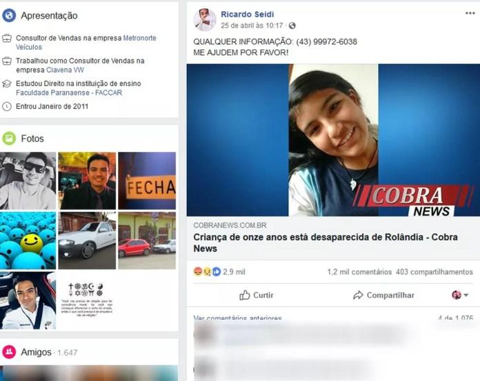 Pai postou mensagem em uma rede social procurando a filha na quinta-feira (25) — Foto: Reprodução