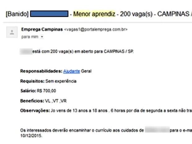 Exemplo de anúncio bloqueado pelo Emprega Campinas por informações falsas (Foto: Reprodução / Site)