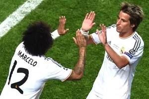 Marcelo e Fabio Coentrão Real Madrid e Atlético de Madrid (Foto: Agência AFP)