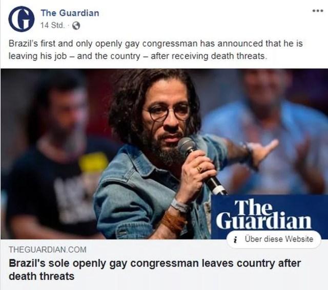 """""""Único congressista abertamente gay do Brasil deixa o país após ameaças de morte"""", diz jornal britânico — Foto: Reprodução/The Guardian"""