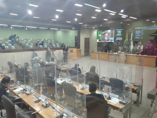 Deputados votam reforma da previdência na Assembleia Legislativa do Rio Grande do Norte. — Foto: Julianne Barreto/Inter TV Cabugi