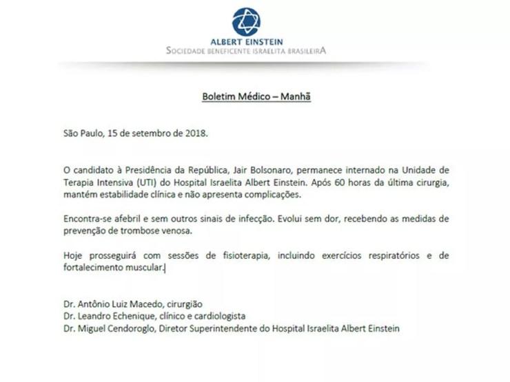 Boletim médico deste sábado (15) informa que Bolsonaro não apresenta sinais de infecção — Foto: Reprodução/Divulgação/Hospital Albert Einstein
