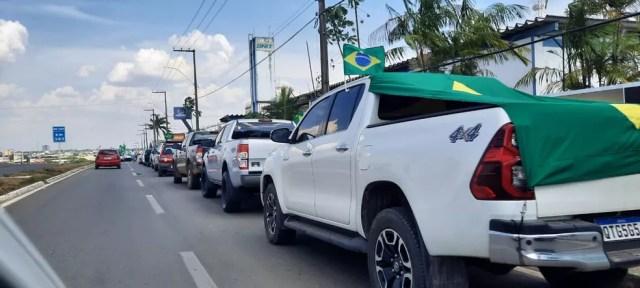 Ji-Paraná: Manifestantes percorreram ruas em ato a favor de Bolsonaro no dia 7 de setembro — Foto: Gedeon Miranda/Rede Amazônica