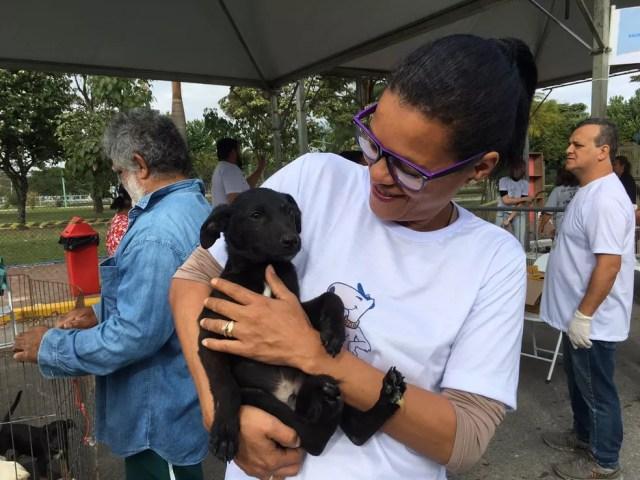 Filhote adotado por senhor na Caminhada do Amicão em Resende (Foto: Maria Clara Jordão/TV Rio Sul)