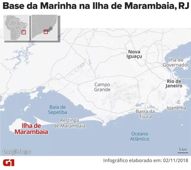 Localização da base naval na Ilha de Marambaia — Foto: Alexandre Mauro/G1
