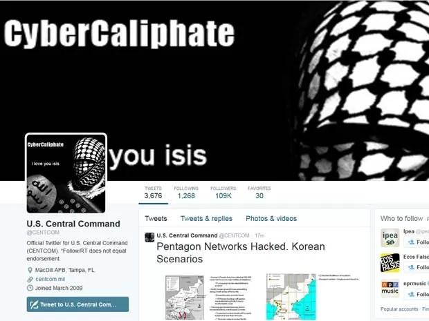 Conta do Comando Central dos Estados Unidos no Twitter publica mensagens de 'Cibercalifado' (Foto: Reprodução/Twitter/U.S. Central Command)