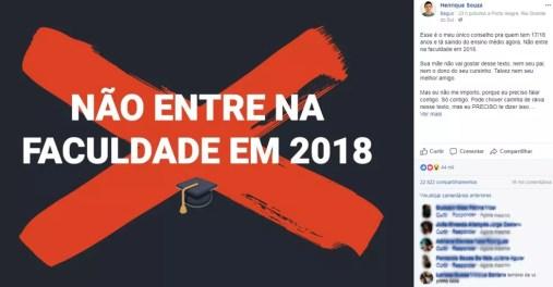 Henrique recomenda que estudantes não entrem na faculdade logo após terminar a escola (Foto: Reprodução/Facebook)