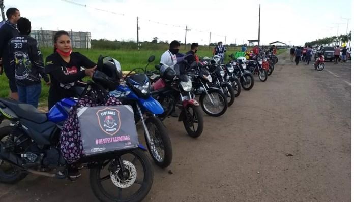 Motoboys também participam do ato na capital acreana, Rio Branco — Foto: Eldérico Silva/Rede Amazônica Acre