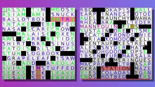 Alguns exemplos de palavras cruzadas que a inteligência artificial enfrentou na competição — Foto: YOUTUBE/MATT GINSBERG