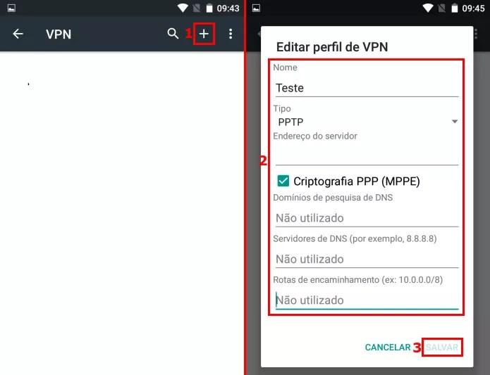 Criando uma nova conexão VPN no Android (Foto: Reprodução/Edivaldo Brito)