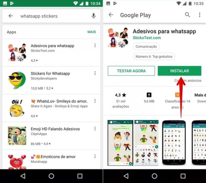 Procure novas figurinhas para o WhatsApp — Foto: Reprodução/Helito Beggiora