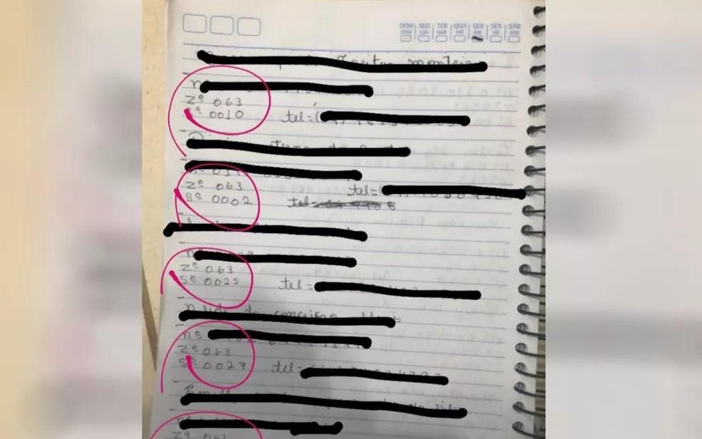 Caderno contendo  anotações de eleitores é apreendido em Firminópolis, Goiás — Foto: Polícia Civil Divulgação