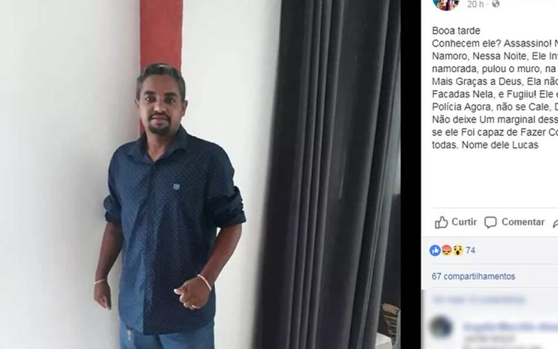 Vítima registrou BO contra o namorado, Lucas Silva Santos, que não foi encontrado pela polícia (Foto: Facebook/Reprodução)